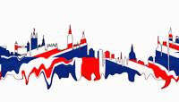 London Skylines British Flag Colors