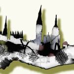 """Abstract London Skyline Design"" by GinetteCallaway"