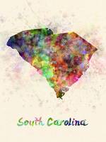 South Carolina US state in watercolor