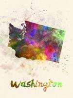 Washington US state in watercolor