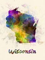 Wisconsin US state in watercolor