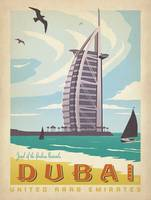 Dubai, United Arab Emirates - Retro Travel Poster