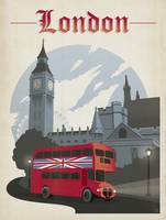 London, England Retro Travel Poster