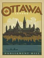 Parliament Hill, Ottawa Retro Travel Poster