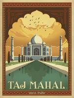 Taj Mahal - Agra, India Retro Travel Poster