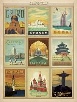 World Travel Collection II Retro Travel Poster
