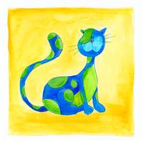 Blue and Green Cat