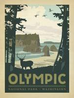 Olympic National Park Retro Travel Poster