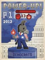 Power Up 2012, Democrat Donkey - Retro Political P