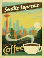 Seattle Supreme Coffee - Retro Poster