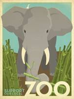 Support Our Local Zoo Elephant Retro Poster
