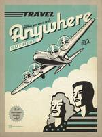 Travel Anywhere, USA Retro Travel Poster