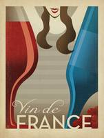 Vin de France Retro Travel Poster