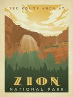 Zion National Park, Utah Retro Travel Poster