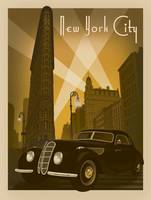 New York City Retro Travel Poster