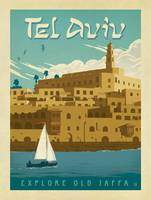 Tel Aviv, Israel Retro Travel Poster