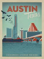 Austin, Texas Retro Travel Poster
