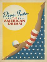 Dive Into the American Dream Retro Poster