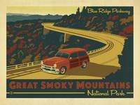 Great Smokey Mountains, Retro Travel Poster