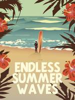 Endless Summer Waves Retro Travel Poster