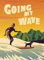 Going my Wave Retro Poster