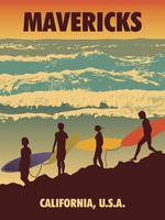 Mavericks, California Retro Travel Poster