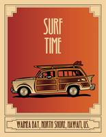 Surf Time Retro Poster
