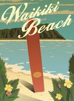 Waikiki Beach Retro Travel Poster