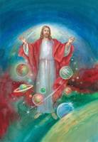 Jesus with his arms open wide and the planets all