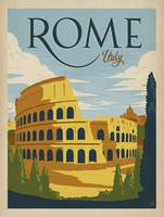 Rome, Italy Retro Travel Poster