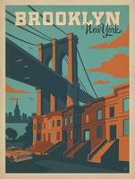 Brooklyn, New York Retro Travel Poster