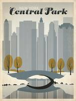 Central Park, NYC Retro Travel Poster