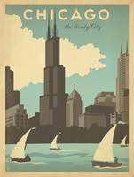 Chicago: The Windy City Retro Travel Poster