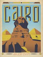 Cairo, Egypt Retro Travel Poster