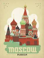 Moscow, Russia Retro Travel Poster
