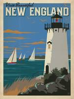 New England Retro Travel Poster