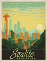 Seattle, Washington Retro Travel Poster