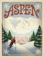 Aspen, Colorado Retro Travel Poster