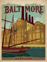 Baltimore, Maryland Retro Travel Poster