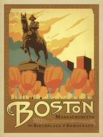 Boston, Massachusetts Retro Travel Poster