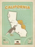 California: The Golden State Retro Travel Poster