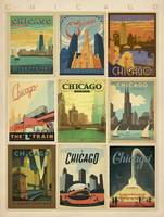 Chicago, Illinois Collection Retro Travel Poster