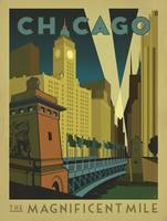 Chicago: The Magnificent Mile Retro Travel Poster