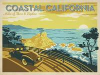 Coastal California Retro Travel Poster
