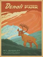 Denali National Park, Alaska - Retro Travel Poster