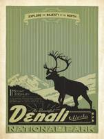 Denali National Park, Alaska Retro Travel Poster