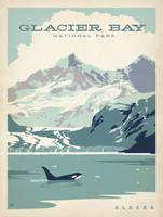 Glacier Bay National Park Retro Travel Poster