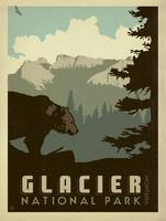 Glacier National Park, Montana - Retro Travel Post