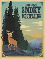Great Smoky Mountains Retro Travel Poster
