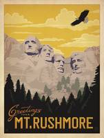 Mount Rushmore, South Dakota Retro Travel Poster